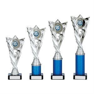 Silver Star Column Trophy - A0116 in 4 sizes