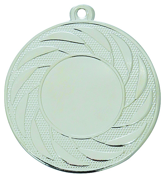 Pack of 100 Radial Medals with Ribbons & Free Logo Inserts (50mm) - M9312.02/SET100 Silver