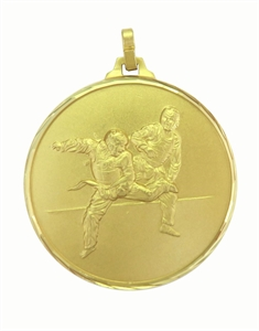 Gold Faceted Martial Arts Medal (size: 52mm) - CL-125F